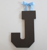 On Sale Chocolate Varsity Wooden Hanging Letters - Letter J