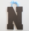 On Sale Chocolate Varsity Wooden Hanging Letters - Letter N
