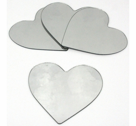 Heart 4-Pack Peel & Stick Wall Mirror Appliques