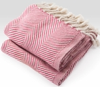 On Sale Herringbone Throw Blanket - Natural/Raspberry