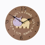 On Sale Hippo Head Wall Clock in Rustic Dark Chocolate