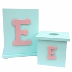 On Sale Initial Tissue Box Cover - Light Yellow Solid with Espresso Letter I