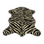 On Sale Ivory Brown Zebra Pelt Rug - 55 x 79 Inches
