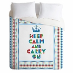 On Sale Keep Calm And Carry On Luxe Duvet Cover - Queen