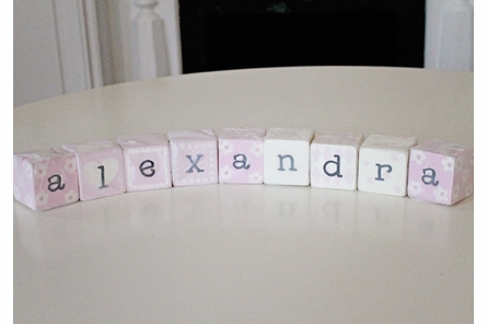 On Sale Letter Blocks in Pink spelling Alexandra