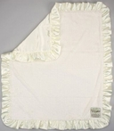 On Sale Luxe Baby Blanket with Satin Back and Ruffle - Cream