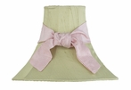 On Sale Medium Green Lamp Shade with Lavender Bow