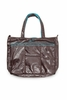 On Sale Mighty Be Diaper Bag in Brown Earth Leather with Teal Lining