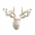 On Sale Papier Mache Deer Head with Flowers - White