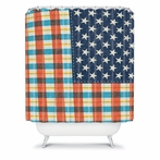 On Sale Plaid Flag Shower Curtain