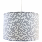 On Sale Platinum Damask Pendent with White Cord