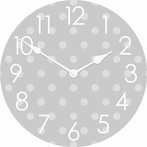 On Sale Polka Dots Wall Clock 12inch Grey