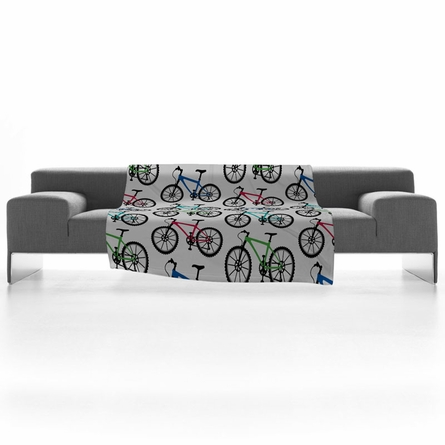 On Sale Ride A Bike White Fleece Throw Blanket - Small