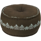 On Sale Round Damask Pouf in Brown and Spa