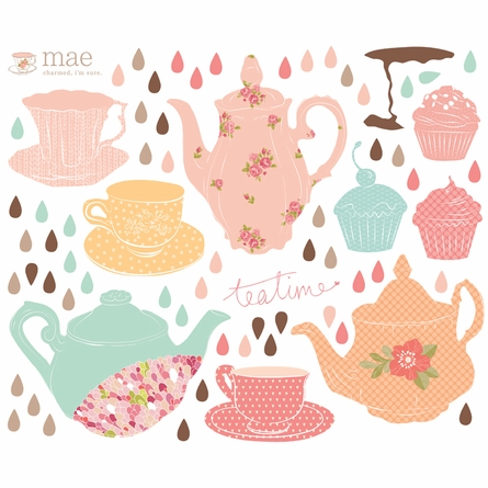 On Sale Tea Time Fabric Wall Decals