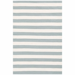 On Sale Trimaran Stripe Indoor/Outdoor Rug in Light Blue and Ivory - 4 x 6 Feet