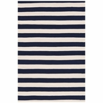 On Sale Trimaran Stripe Indoor/Outdoor Rug in Navy and Ivory - 8 Foot Runner