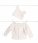 On Sale Warm and Fuzzy Cream Cardigan and Cap Set - 3 to 6 Months
