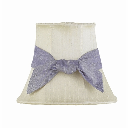 On Sale White Chandelier Shade with Lavendar Knotted Sash