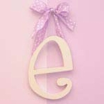 On Sale Wooden Hanging Letters - Brown Solid Ribbon - Letter E