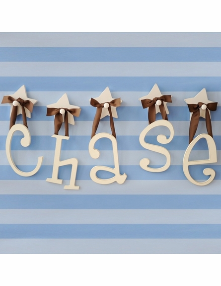 On Sale Wooden Hanging Letters - Brown Solid Ribbon - Letter N