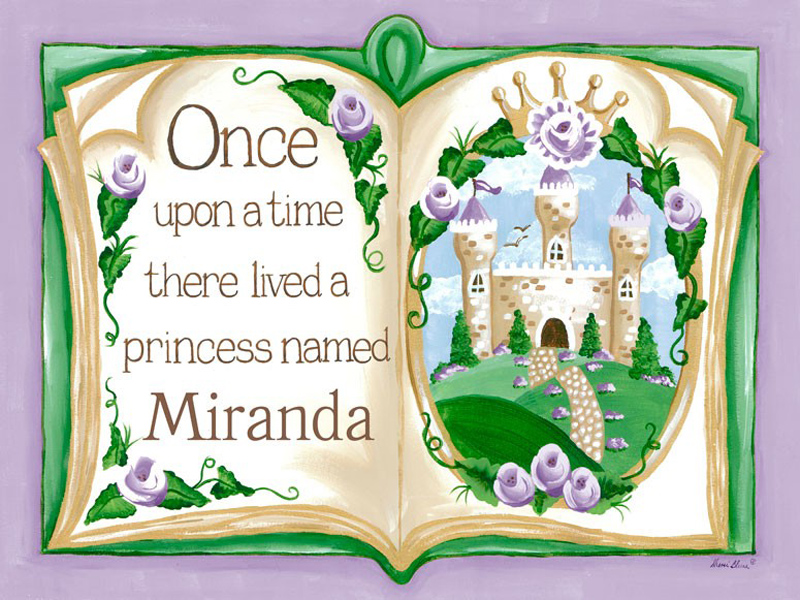 Once Upon A Time Storybook Lavender Canvas Wall Art By
