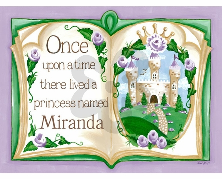 Once Upon a Time Storybook Lavender Framed Art Print
