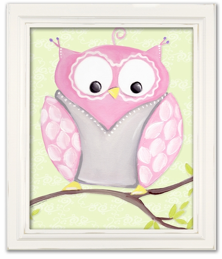 Opal Owl Framed Canvas Reproduction
