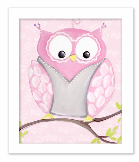 Opal Owl on Pink Framed Canvas Reproduction