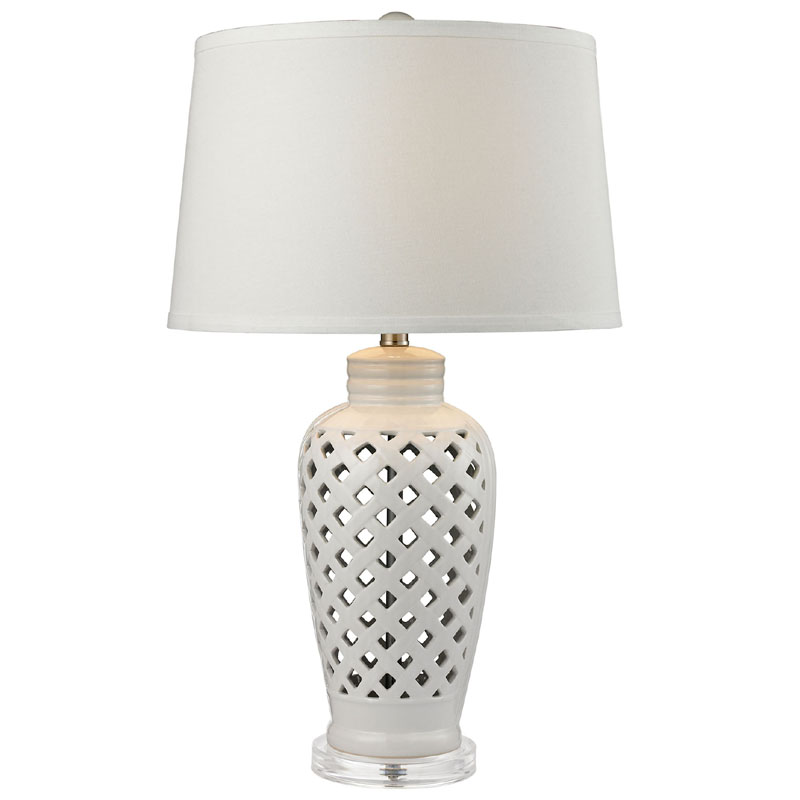 ... Lights > All Light Fixtures > Openwork Ceramic Table Lamp in White