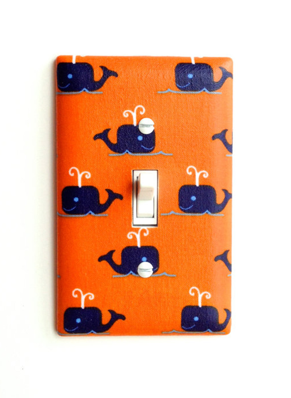 Orange And Navy Whale Light Switch Plate Cover