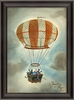 Orange And White Striped Hot Air Balloon Framed Wall Art