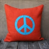 Orange Burlap Pillow With Aqua Peace Sign