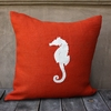 Orange Burlap Pillow With White Seahorse