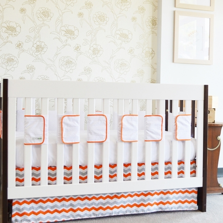 Orange Chevron Flat Panel Crib Skirt