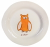 Orange Owls on White Personalized Ceramic Dish Collection
