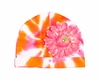 Orange Tie Dye Hat with Candy Pink Daisy
