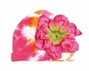 Orange Tie Dye Hat with Candy Pink Peony