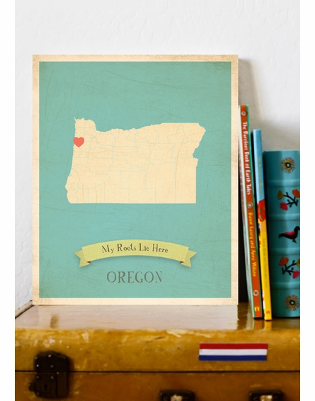 Oregon My Roots State Map Art Print