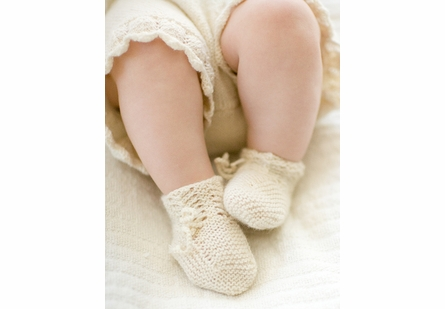 Organic Hand-Knit Matinee Ribbon Layette Set