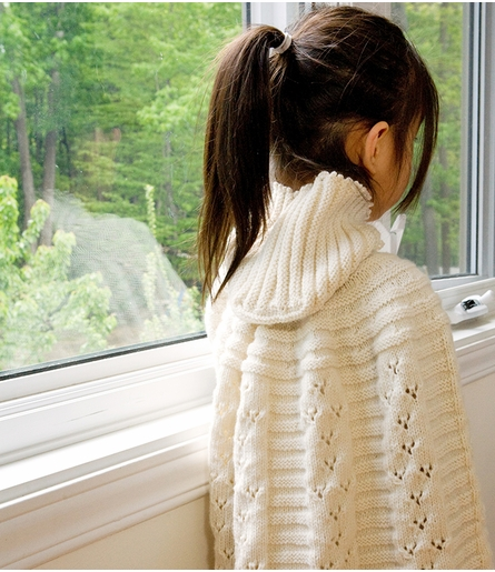 Organic Hand-Knit Scalloped Girl's Cape