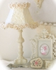 Ornate Table Lamp with Cream Rose Petal Shade