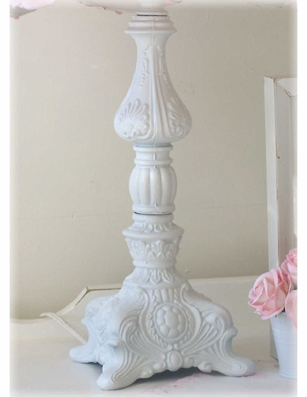 Ornate Table Lamp with Pink Rose Petal Shade