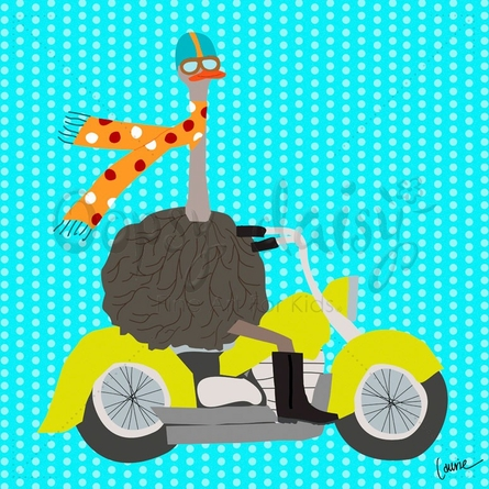 Ostriches on the Go Motorcycle Canvas Wall Art