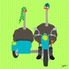 Ostriches on the Go Side Car Canvas Wall Art