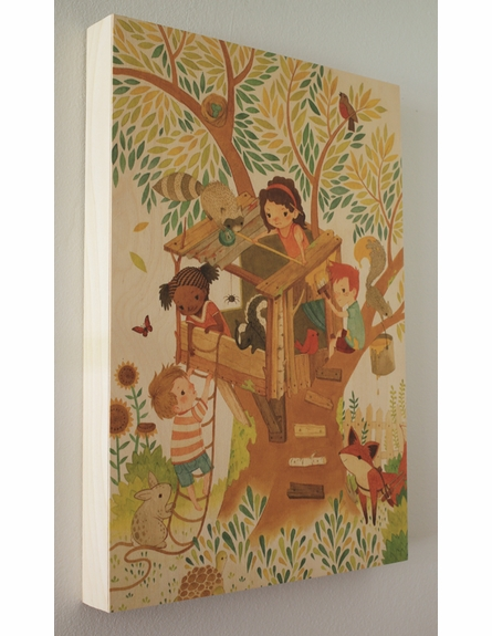 Our House in the Woods Wood Panel Art Print