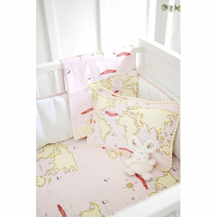 Out to Sea in Pink Crib Sheet