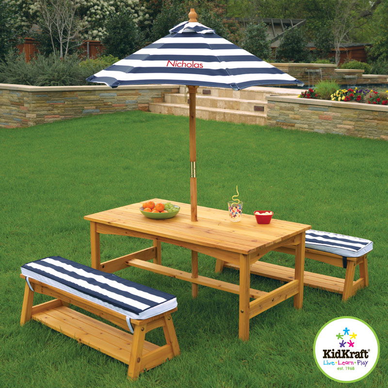 Outdoor Table And Bench Set With Cushions And Umbrella By