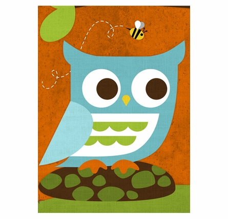Owl And Beehive Canvas Reproduction