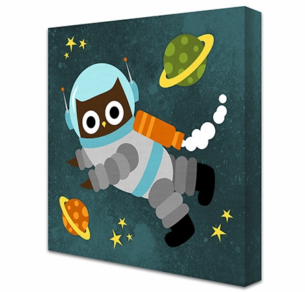 Owl Astronaut Canvas Reproduction